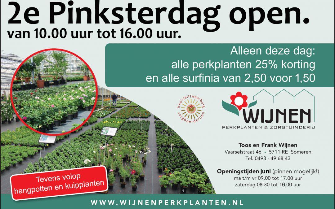 2e Pinksterdag open.